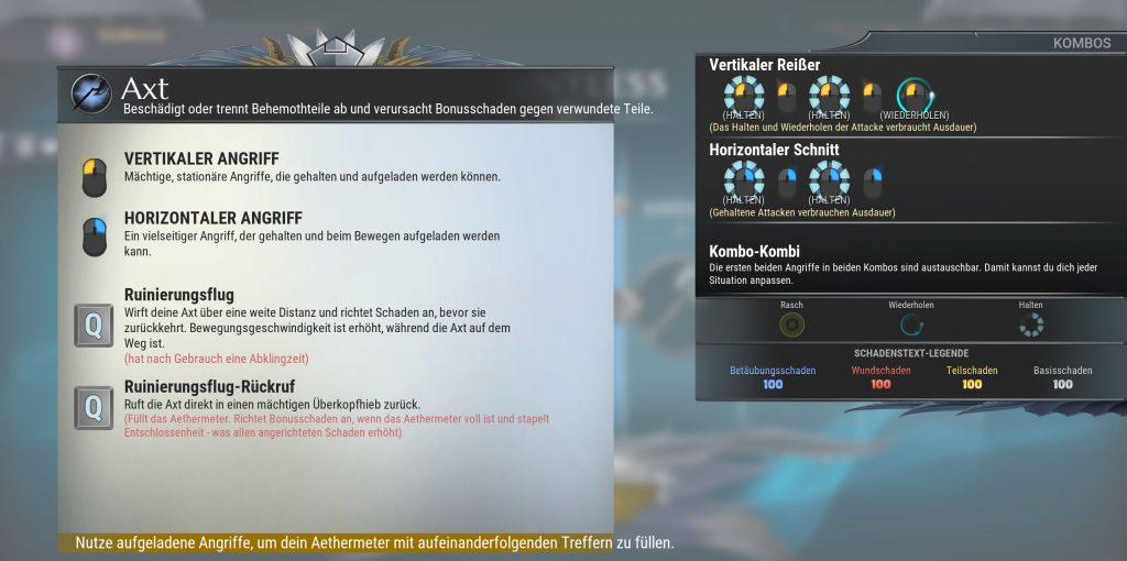 Dauntless Axt Fähigkeiten und Combos