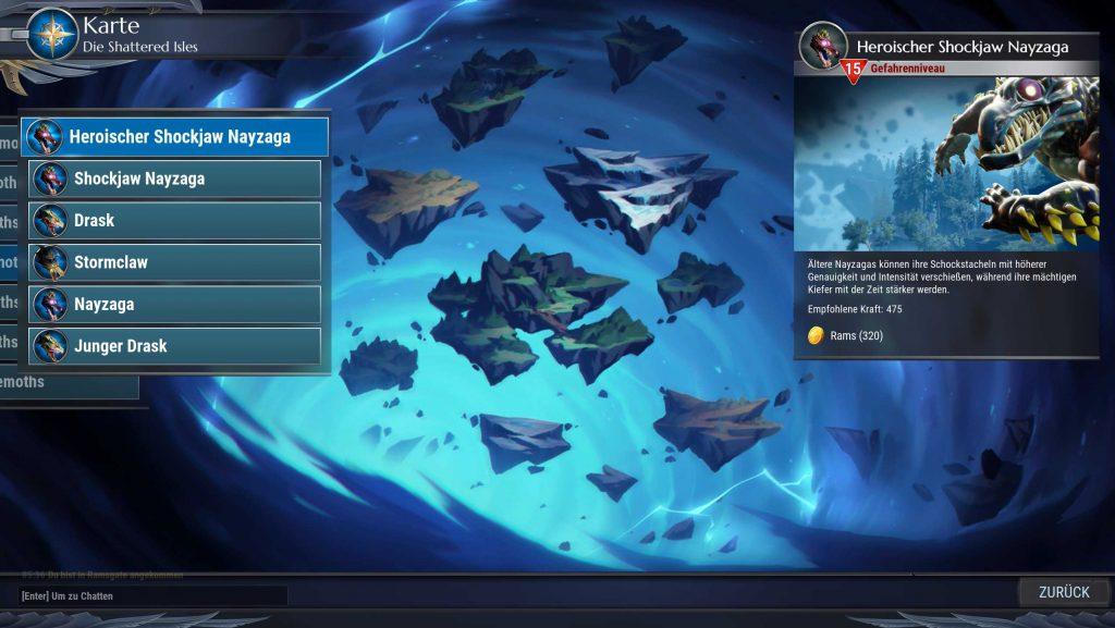 Dauntless Jagd Karte Auswahl