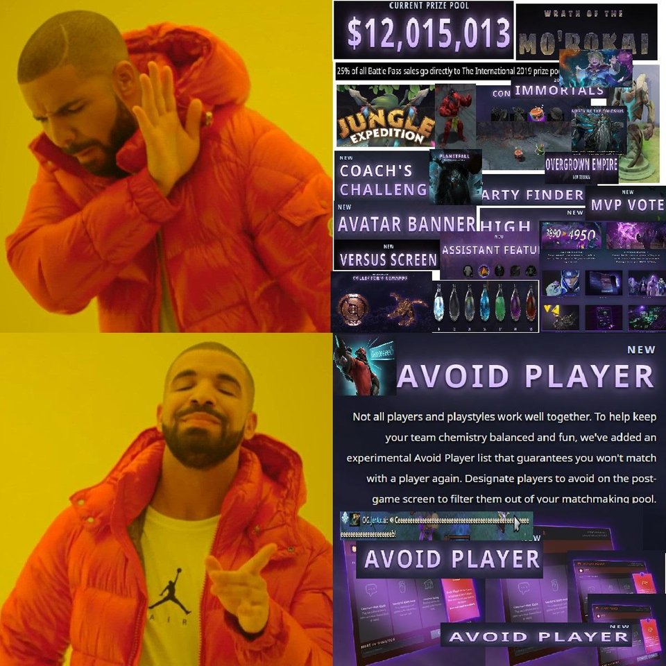 Dota 2 Battle pass Avoid Player Drake Meme