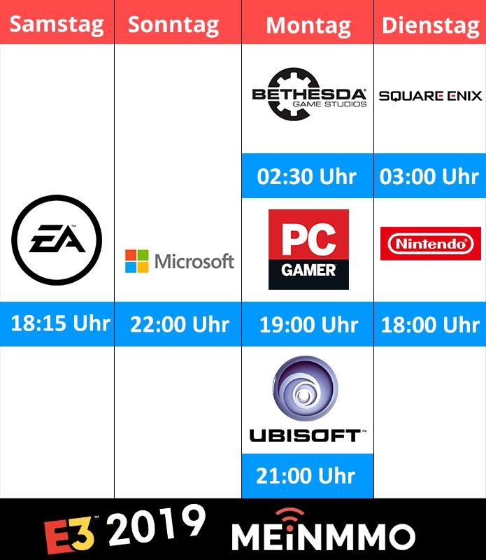 E3 2019 Pressekonferenzen deutsche Uhrzeiten Microsoft, EA, Bethesda, Ubisoft, Square Enix, Nintendo, PC Gaming