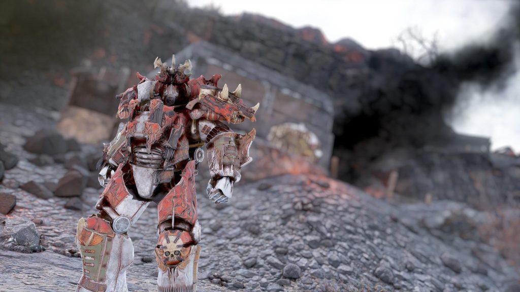 Fallout 76 Apokalyptischer Reiter Skin für die Powerrüstung Krieg