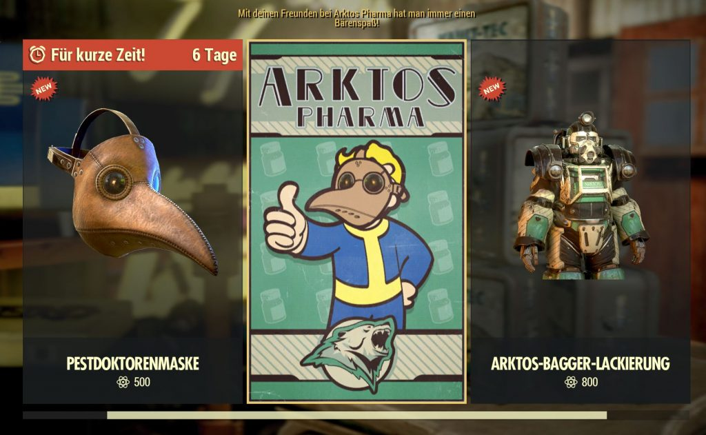 Fallout 76 Arktos Pharma Atom Shop Items Pestdoktor Maske und Skin