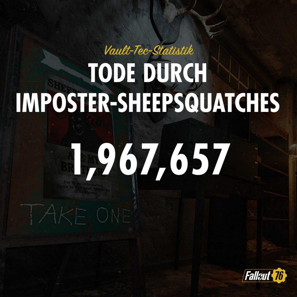 Fallout 76 Statistik Spielertode beim Sheepsquatch