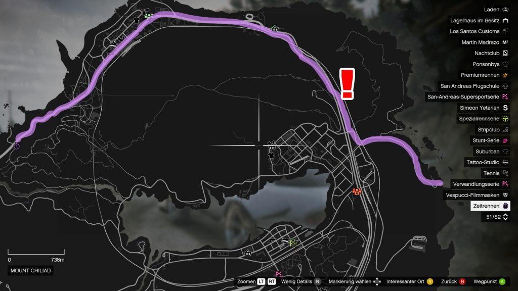 GTA 5 Online Zeitrennen Küste zu Küste Streckenverlauf