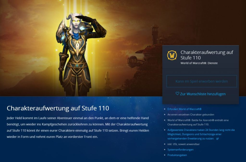 WoW Character Boost auf 110
