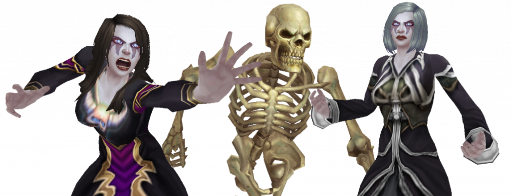 WoW Necromancer with skeletton transparent