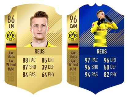 Beispiel FIFA 18: Reus Gold-Karte & Reus TOTS-Karte