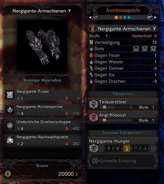 monster hunter world nergigante gamma handschuhe
