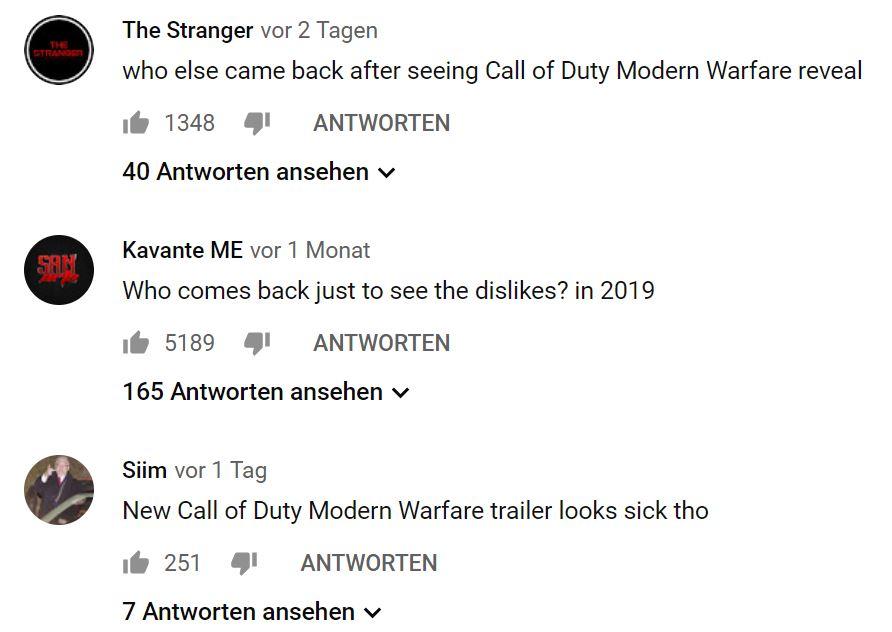 Kommentare zum Infinite Warfare Video in 2019