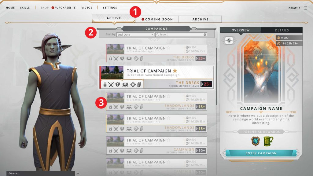 Crowfall neues UI Welten
