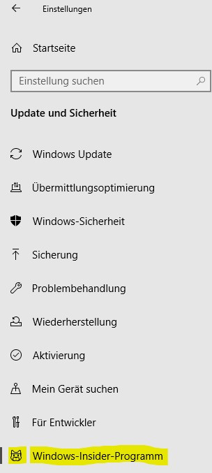 Einstellungen Win 10 Windows Insider