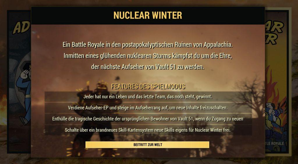 Fallout 76 Nuclear Winter Regeln