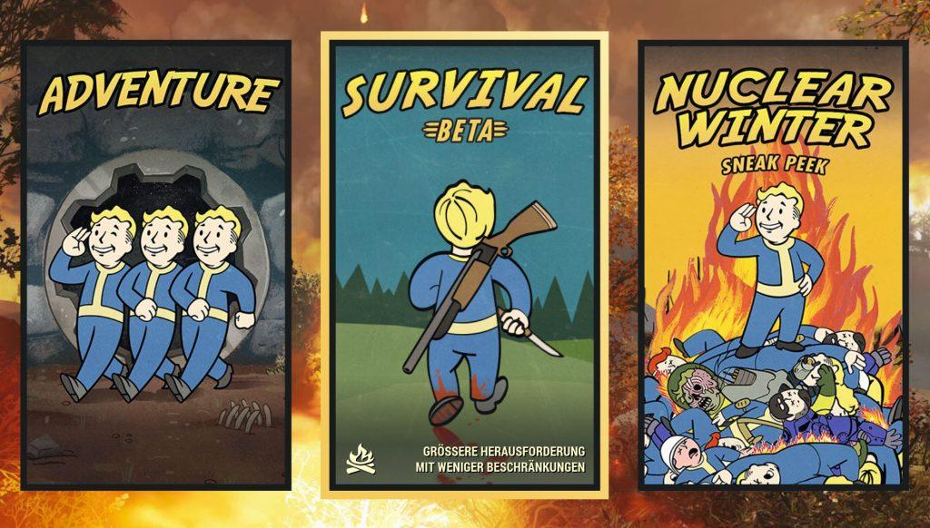 Fallout 76 verschiedene Modi in der Auswahl