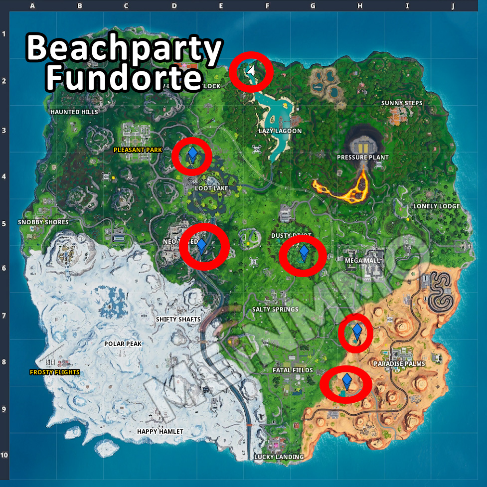 Fortnite Beachparty Fundorte Map Karte Locations
