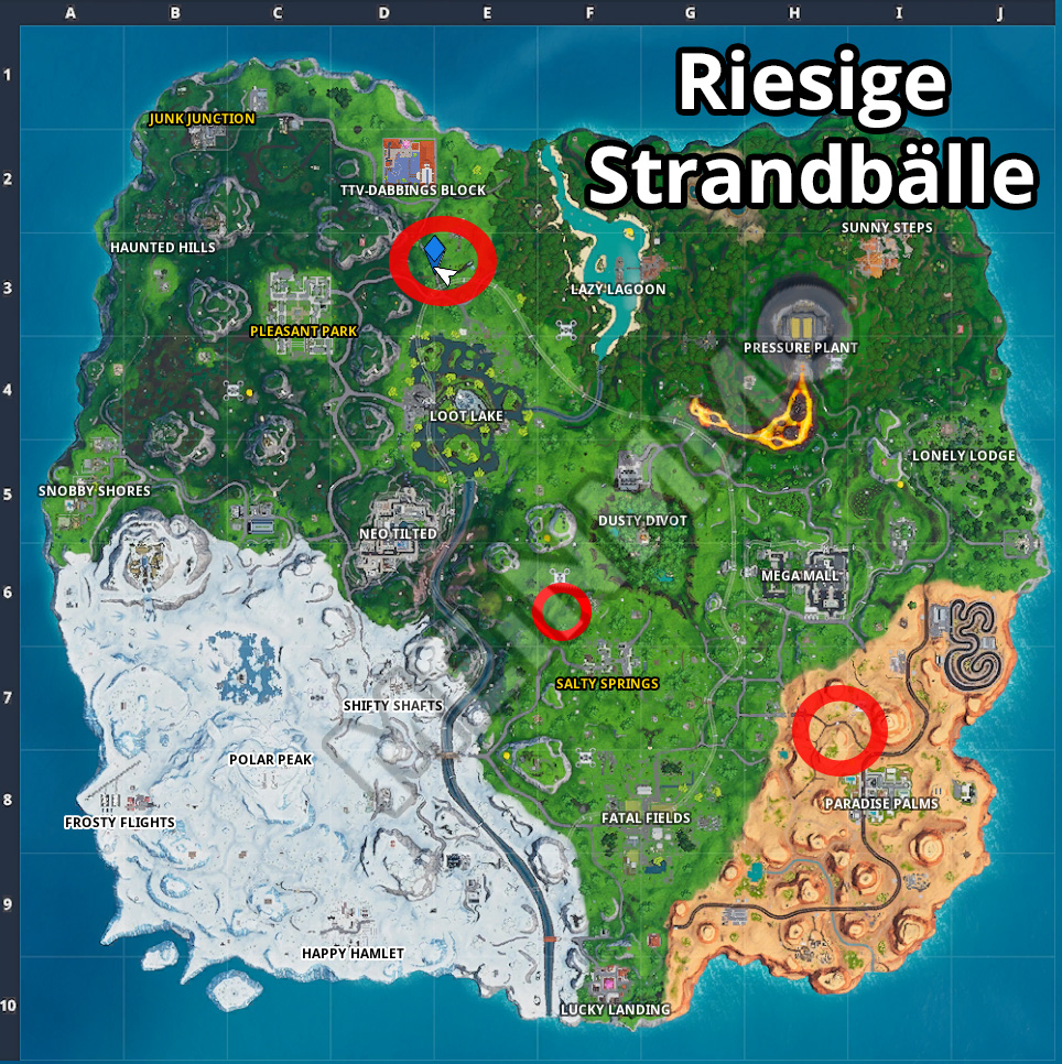 Fortnite Strandbälle Fundorte Map3