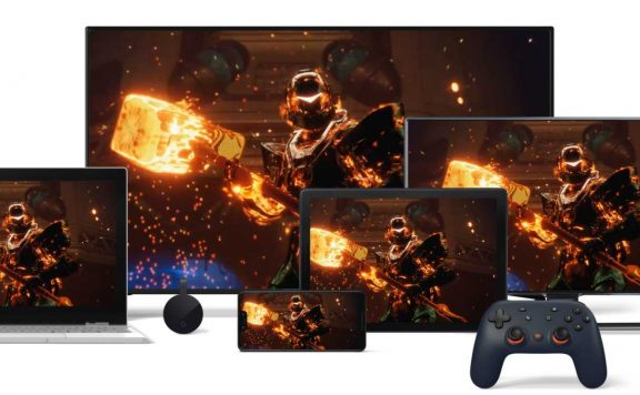 Google Stadia Titelbild mit Devices und Destiny