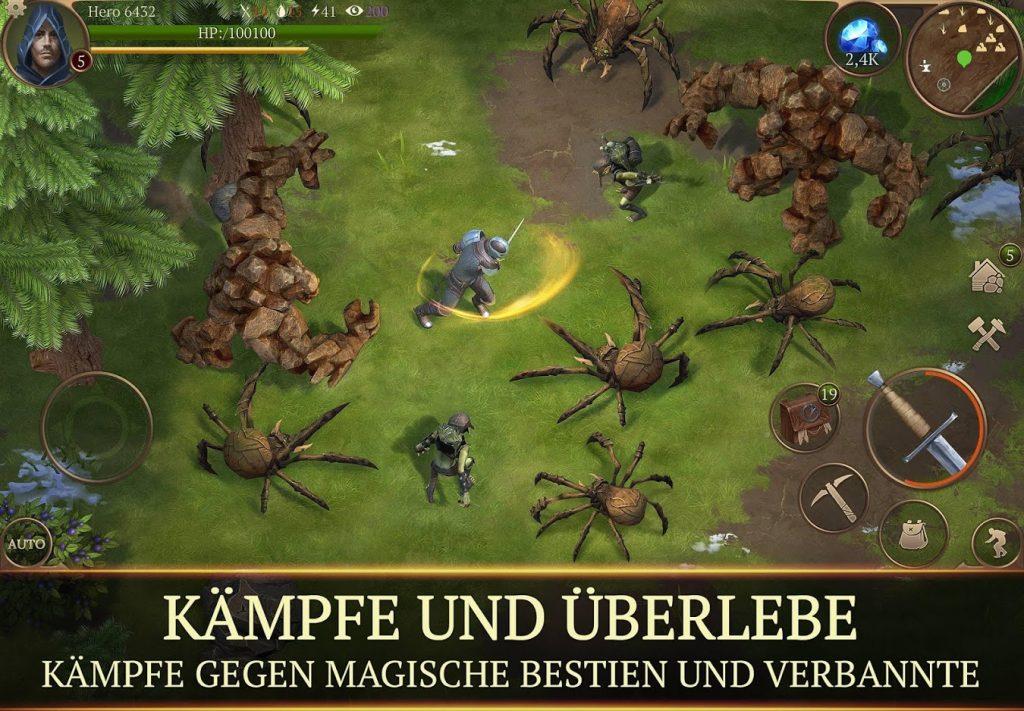 Stormfall Mobile Screenshot Kampf gegen Monster und Spinnen