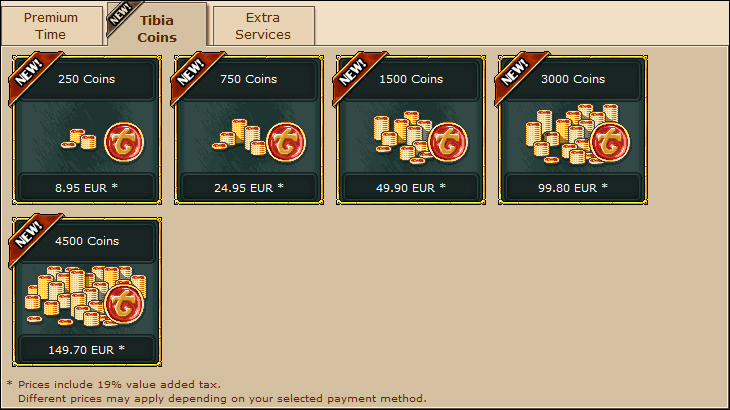 Tibia Webshop Coins