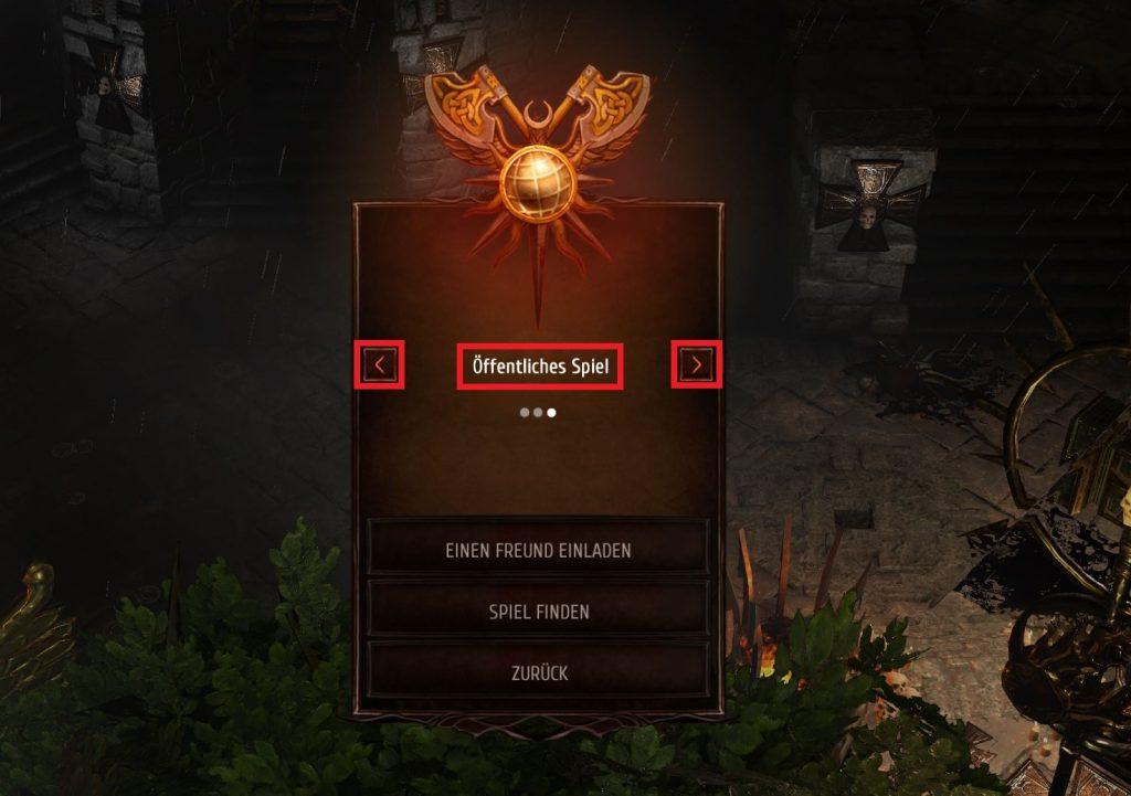 Warhammer Chaosbane Auswahlmenü für Freunde