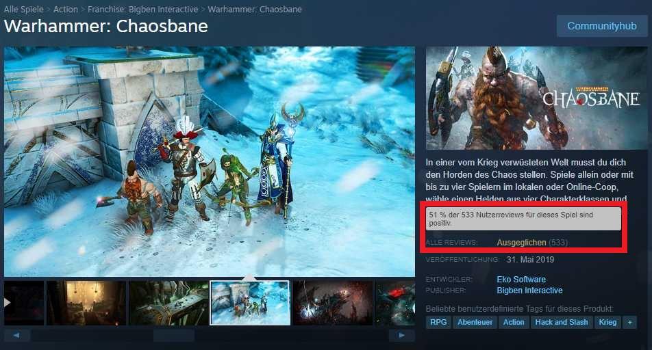 Warhammer Chaosbane auf Steam am 3 Juni mit bewertung