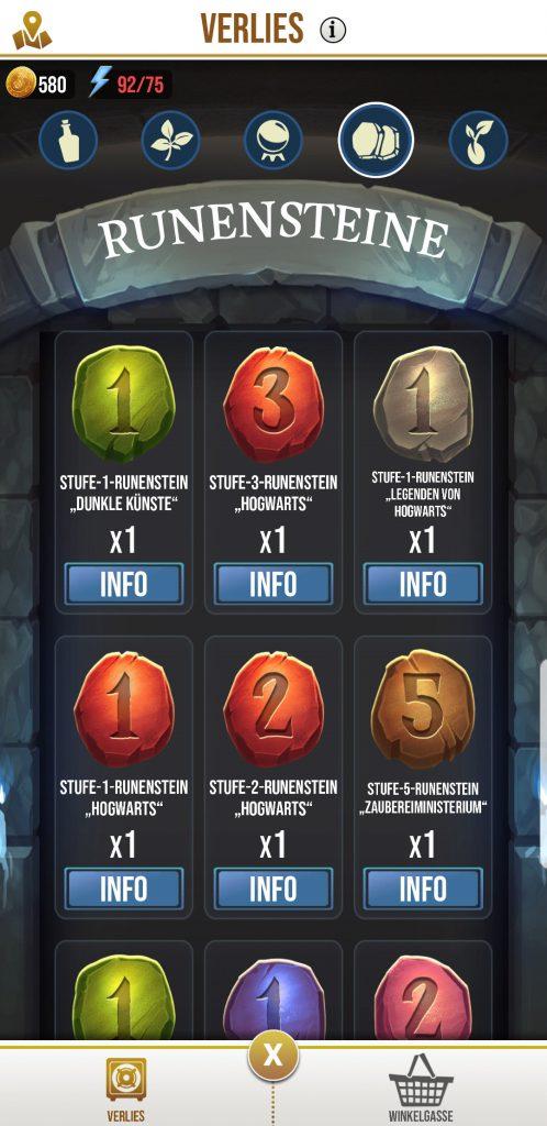 Wizards Unite Runenstein Übersicht