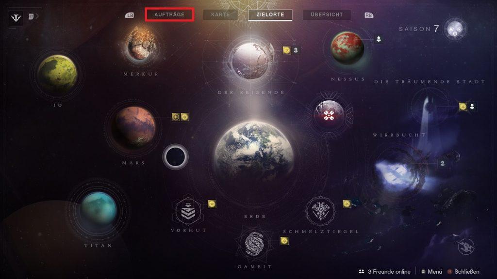 Destiny 2 Aufträge-Tab Karte