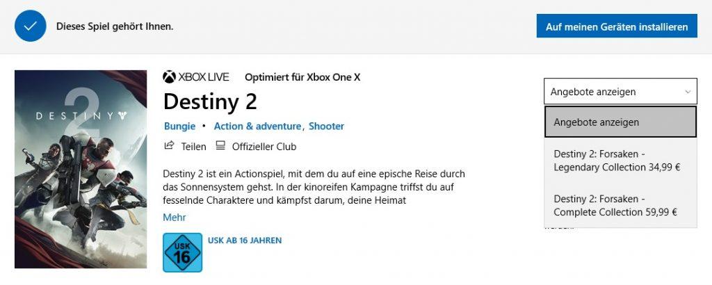 Destiny 2 Microsoft Store