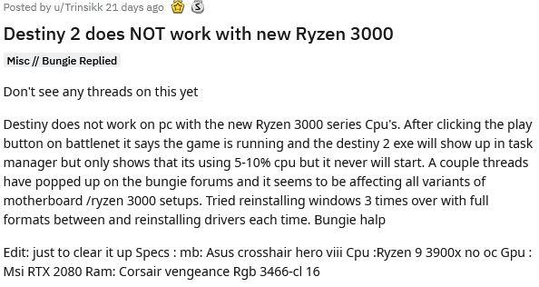 Reddit Destiny 2 startet nicht mit Ryzen 3000