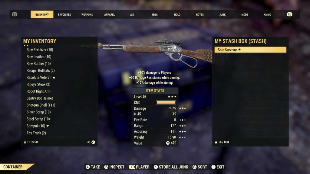 Fallout 76 legendäre Gegenstände in der Vorschau mit Attributen