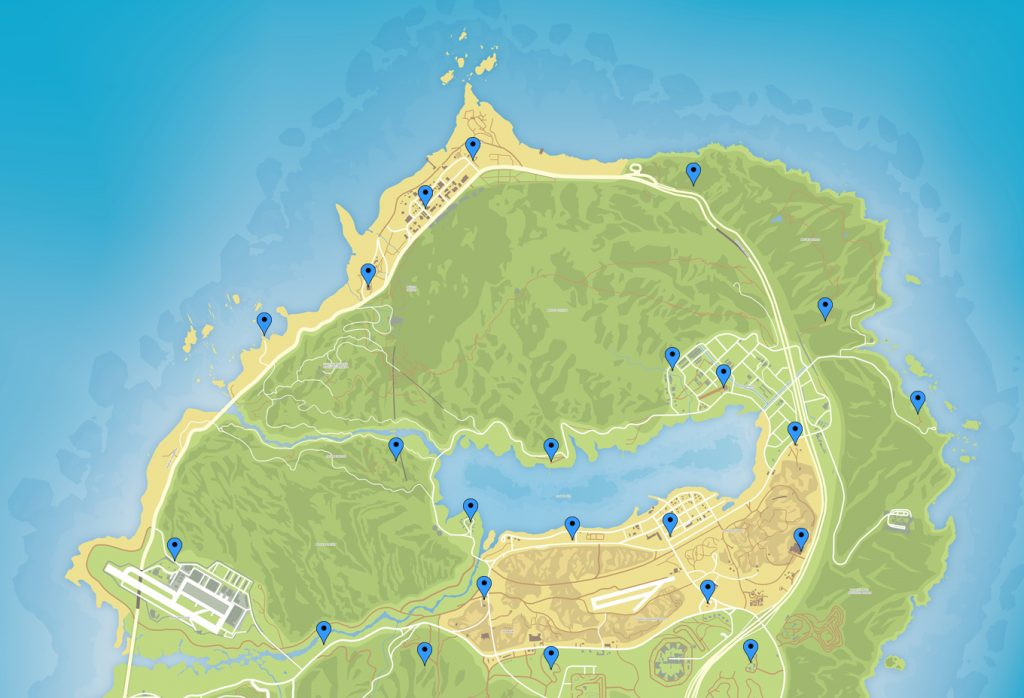 GTA Online Map Schatzsuche Fundorte Oben