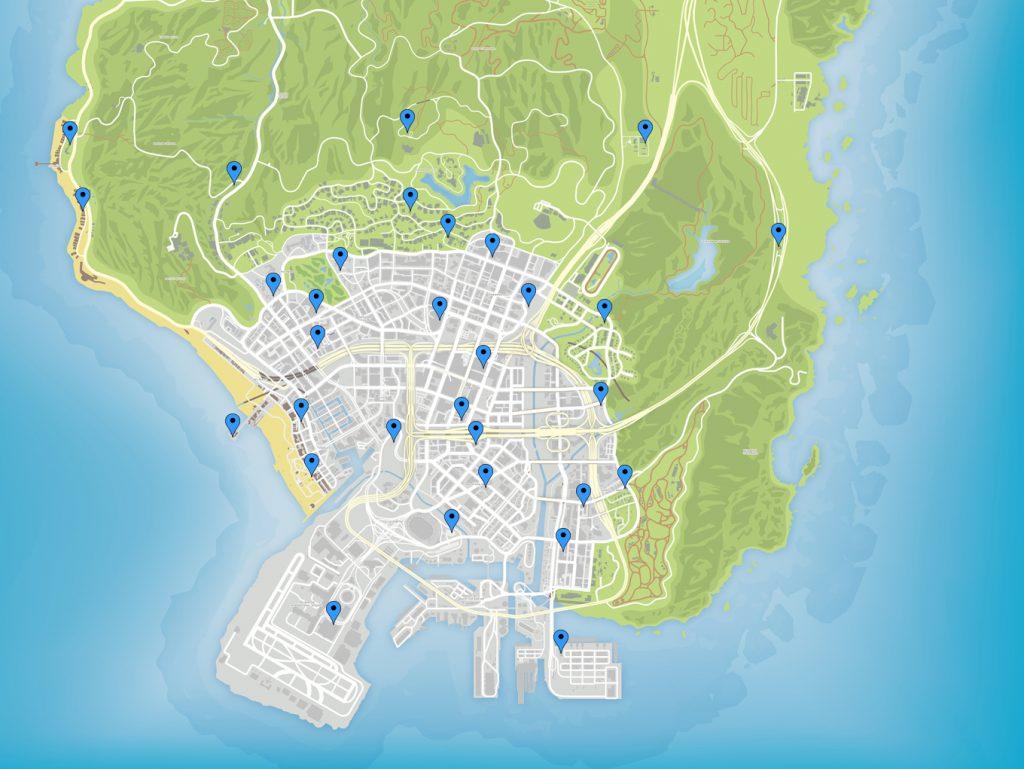 GTA Online Map Schatzsuche Fundorte unten