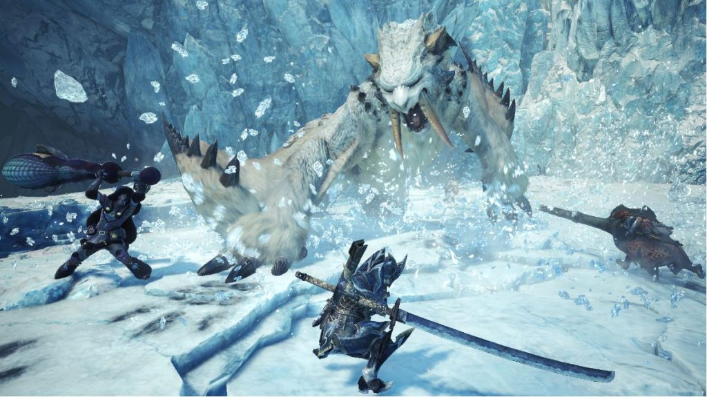 Kampf gegen Barioth im Multiplayer von Monster Hunter World: Iceborne