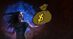 Path of Exile Hexe hält Geld Titel
