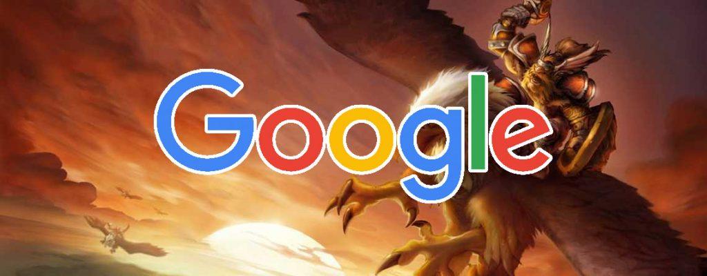 WoW Classic Greifenreiter Titel mit Google Schriftzug