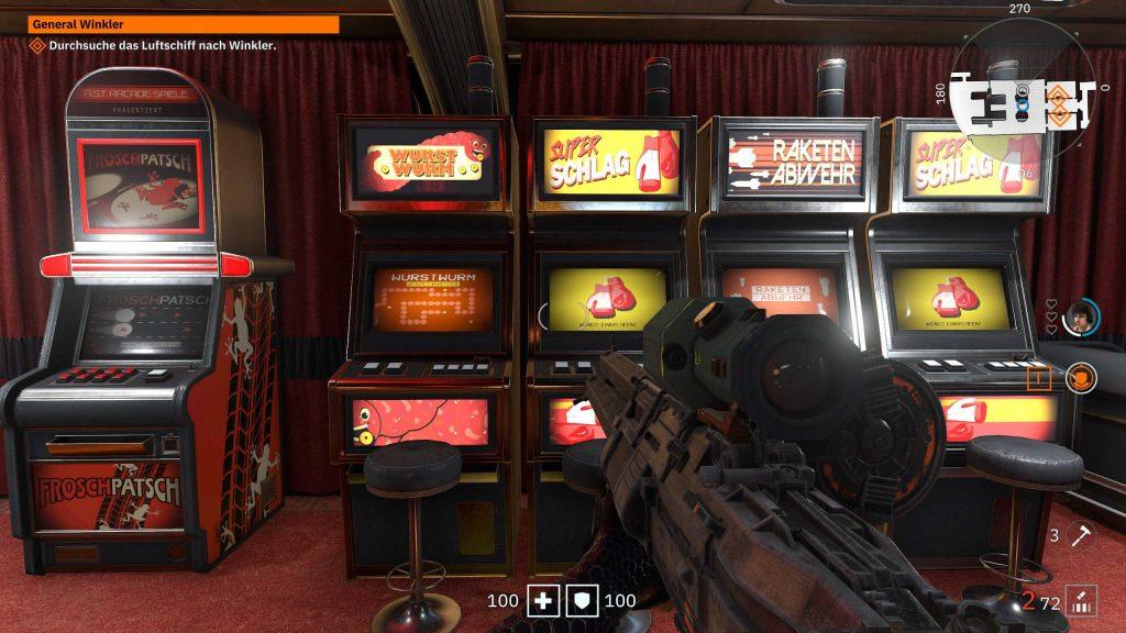 Wolfenstein Youngblood Arcade mit lustigen Spielen