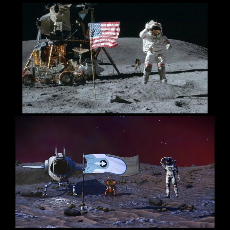 Nachgestellte Szene der Mondlandung in No Man's Sky