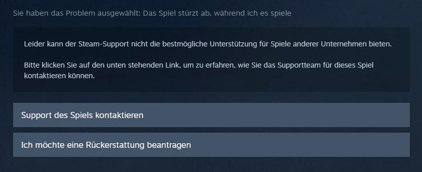 Steam Support Rückgabe
