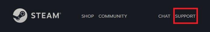 Steam Support Webseite