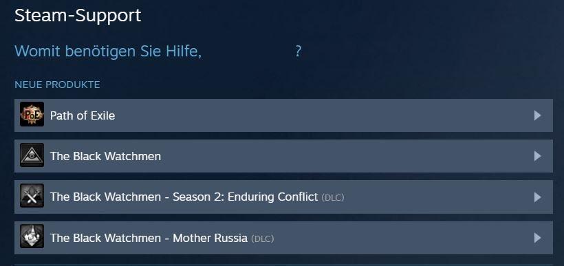 Steam Support Spiele