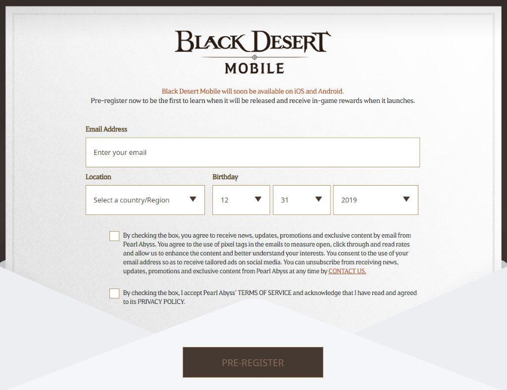 Black Desert Mobile Registrierung