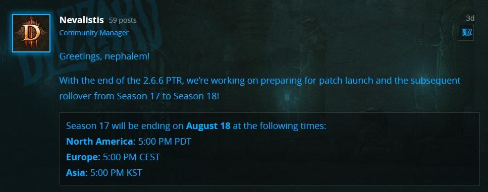Diablo 3 Season 17 Ende Blue