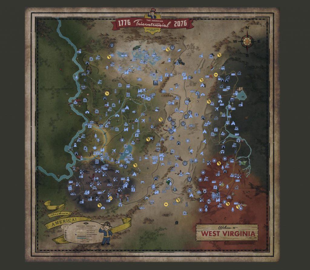 Fallout 76 Map76 Karte Ausschnitt