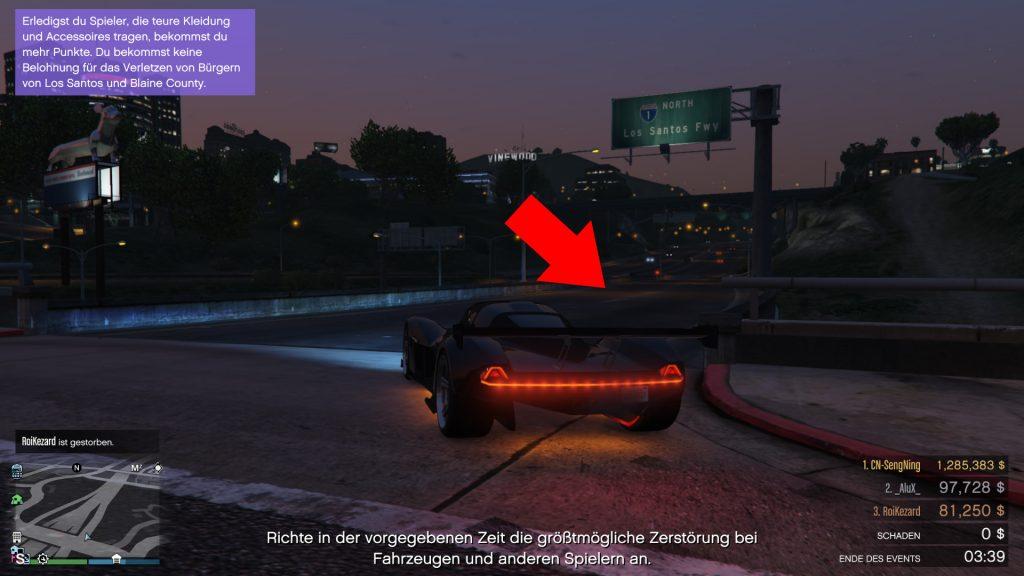 GTA Online Schild abbiegen