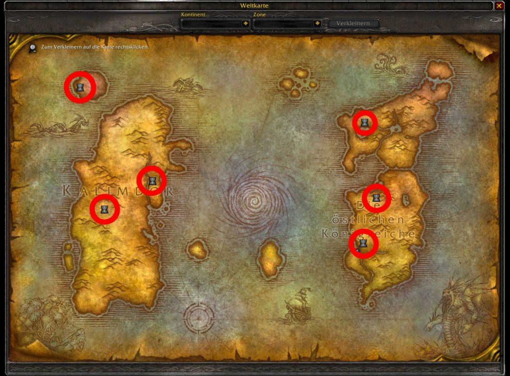 WoW Classic Hauptstädte auf der Karte