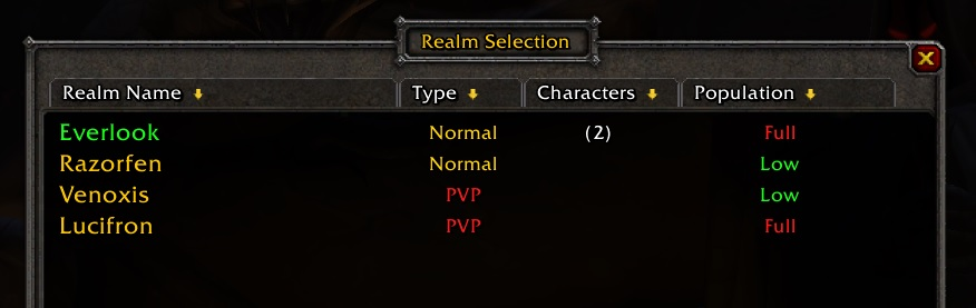WoW Classic Realms Full empty