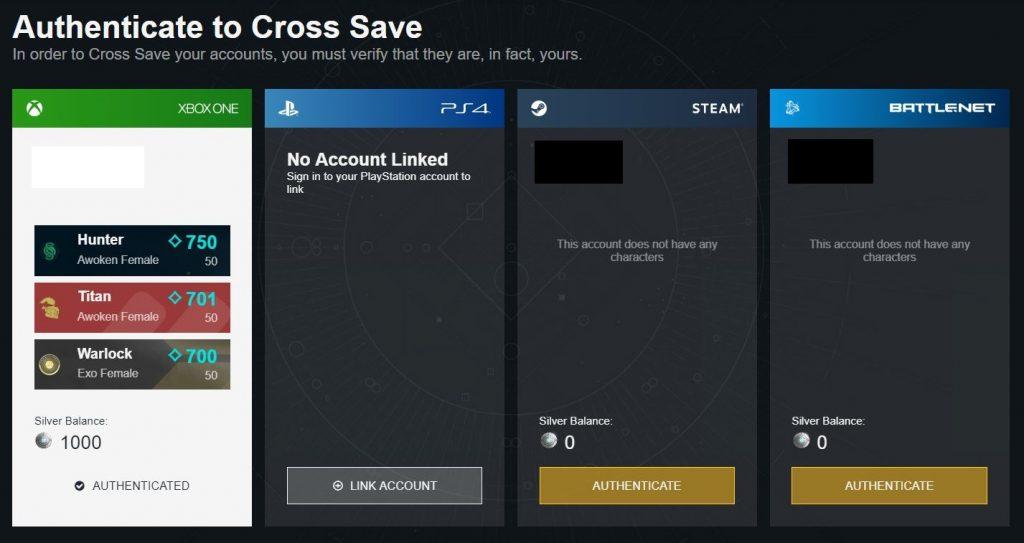 Destiny 2 Cross-Save Accounts