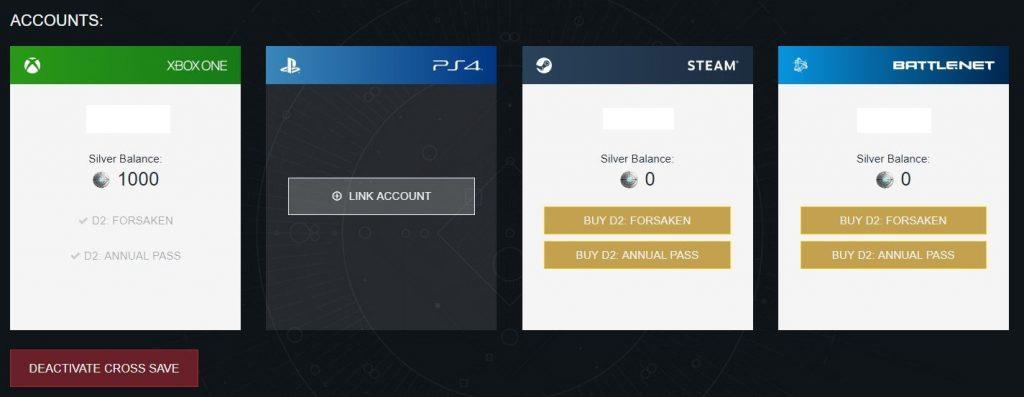 Destiny 2 Cross-Save Übersicht deaktivieren
