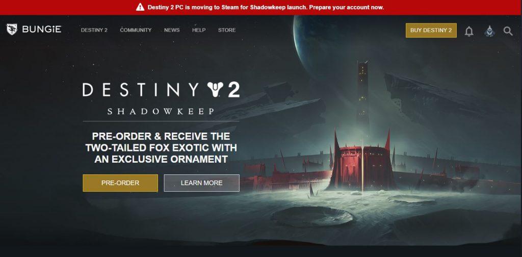 Destiny 2 Steam Battle.net Migration Bande