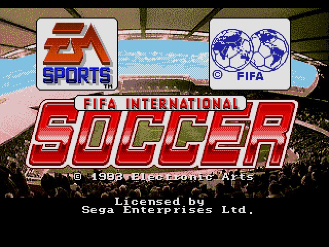Der Titelscreen von FIFA International Soccer