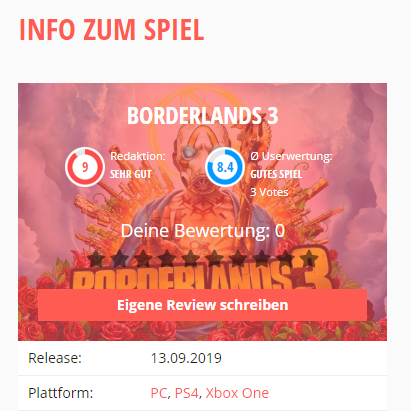 borderlands 3 reviews